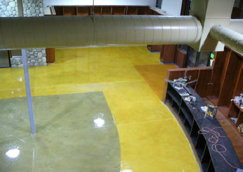Northville Market Thin Stained concrete overlay epoxy