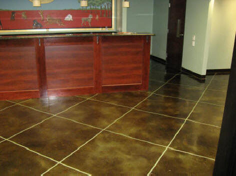 Paw Print Inn Thin Stained concrete overlay epoxy